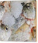Frozen Fish On Ice Wood Print