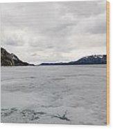 Frozen Lake Laberge Yukon Canada Wood Print