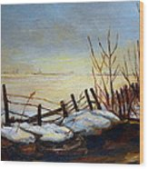 Frozen Lake Near Ste. Adele Wood Print