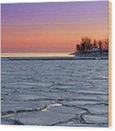 Frozen Lake Ontario Sunset Wood Print