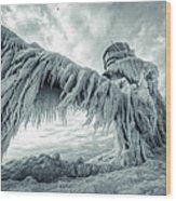 Frozen Lighthouse Wood Print