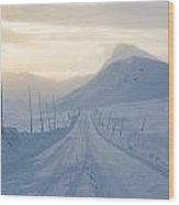 Frozen Mountain Road Wood Print
