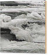 Frozen Niagara River Rapids Above Niagara Falls Wood Print