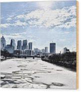 Frozen Philadelphia Cityscape Wood Print