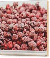 Frozen Raspberries Wood Print