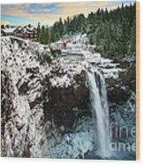 Frozen Snoqualmie Falls Wood Print