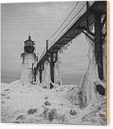 Frozen St. Joseph Lighthouse Wood Print