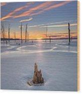 Frozen Sunrise Wood Print