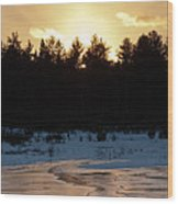 Frozen Sunset Wood Print