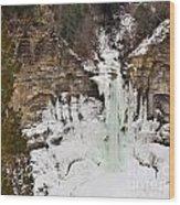 Frozen Winter Falls Wood Print