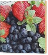 Fruit 2- Strawberries - Blueberries Wood Print by Barbara Griffin