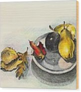Fruit And Autumn Leaves Wood Print
