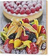 Fruit And Berry Tarts Wood Print