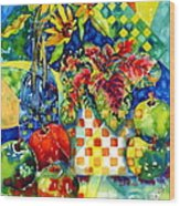 Fruit And Coleus Wood Print by Ann  Nicholson