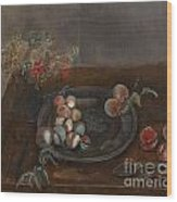 Fruit And Flowers On A Table Wood Print