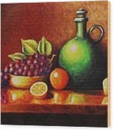 Fruit And Jug Wood Print