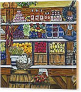 Fruit And Vegetable Market By Alison Tave Wood Print