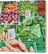 Fruit And Vegetable Stall Wood Print