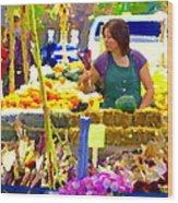 Fruit And Vegetable Vendor Roadside Food Stall Bazaars Grocery Market Scenes Carole Spandau Wood Print