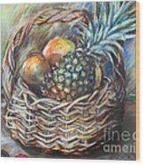 Fruit Basket Wood Print by Melanie Alcantara Correia