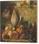 Fruit Flowers And Game Wood Print