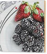 Fruit I - Strawberries - Blackberries Wood Print