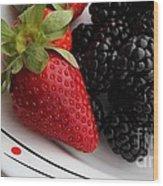 Fruit II - Strawberries - Blackberries Wood Print by Barbara Griffin