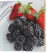 Fruit Iv - Strawberries - Blackberries Wood Print