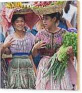 Fruit Sellers In Antigua Guatemala Wood Print by David Smith