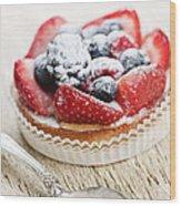 Fruit Tart With Spoon Wood Print