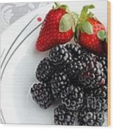Fruit V - Strawberries - Blackberries Wood Print