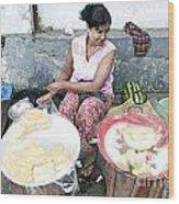 Fruit Vendor On Street Yangon Myanmar Wood Print