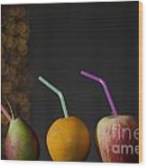 Fruit With Straws Wood Print