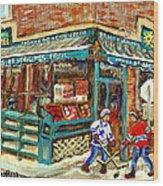 Fruiterie Epicerie Soleil Verdun Montreal Depanneur Paintings Hockey Art Montreal Winter City Scenes Wood Print