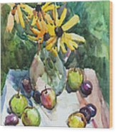 Fruits And Camomiles Wood Print