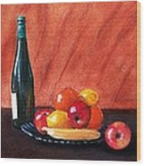 Fruits And Wine Wood Print