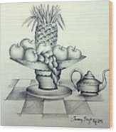 Fruits In Basket Wood Print