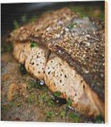 Frying Salmon On Pan Wood Print