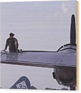 Fueling The Superfortress Wood Print