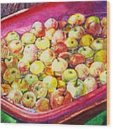 Fuji Apples In The Water Wood Print