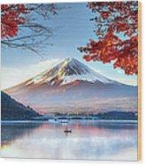 Fuji Mountain In Autumn Wood Print
