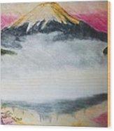 Fuji Mountain In The Fog Wood Print