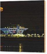 Full Blood Moon Over The St. Petersburg Pier Wood Print