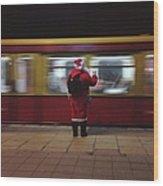 Full Length Rear View Of Man In Santa Wood Print