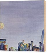 Full Moon And Empire State Building Watercolor Painting Of Nyc Wood Print