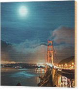 Full Moon And Fog Over The Golden Gate Bridge Wood Print