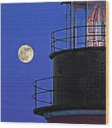 Full Moon And West Quoddy Head Lighthouse Beacon Wood Print