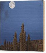 Full Moon At Bandiagara Mali Wood Print