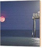 Full Moon At Carolina Beach Pier Wood Print
