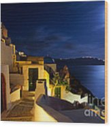 Full Moon At Santorini Wood Print by Aiolos Greek Collections